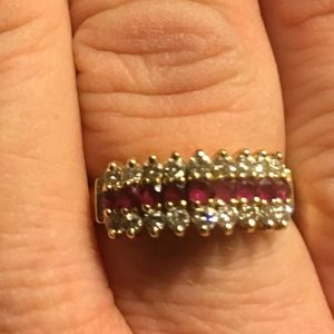 14k Gold Yellow Gold Diamond and Ruby Ring